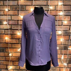 Express Portofino Light Purple Button Up Shirt